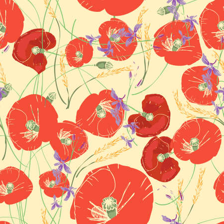 pattern with red poppies, daisies, cornflowers and ears of wheat.