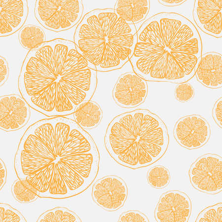 Fresh oranges background. Doodle wallpaper vector. Colorful seamless pattern with fresh fruits collection. Decorative illustration, good for printing