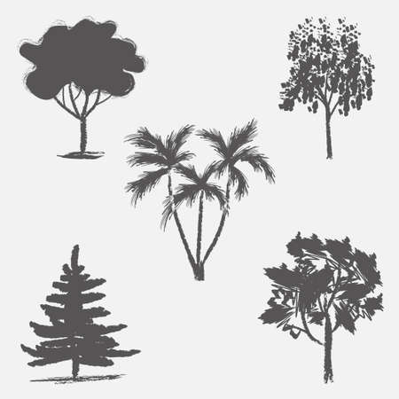 Vector trees in silhouettes.
