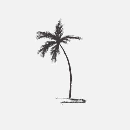 Black vector single palm tree silhouette icon isolated Ilustração