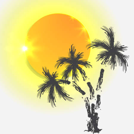 Silhouette of palm trees with sun on the island isolated on white background. Illustration
