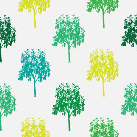 Seamless pattern of decorative ornamental stylized endless trees.