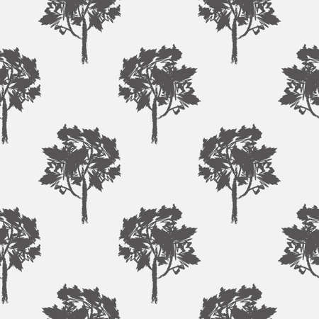 Seamless pattern of decorative ornamental stylized endless trees.