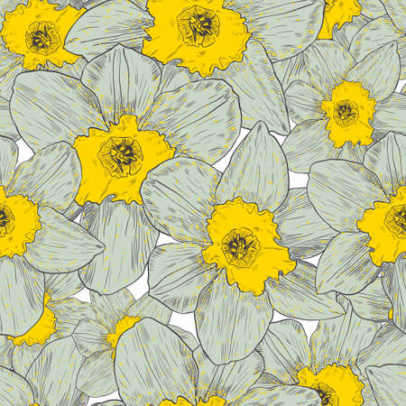 Seamless pattern with narcissus. Vector illustration.