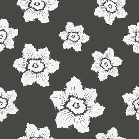 Narcissus daffodils seamless spring floral pattern. 일러스트