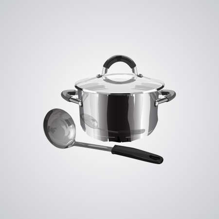 stainless steel pan and ladle isolated on white background