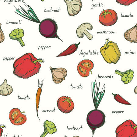 Assorted vegetables seamless pattern. Fresh vegetables background Illusztráció