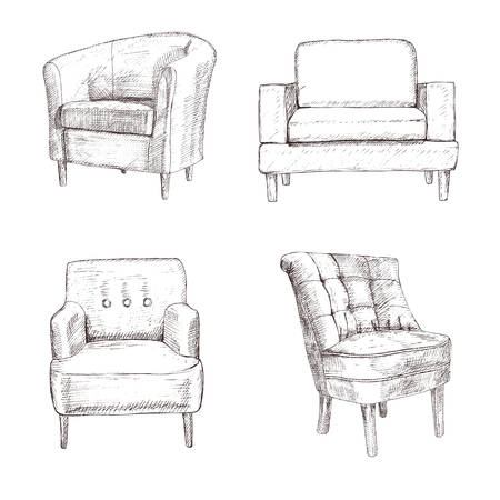 Furniture hand drawn set, chair, armchair , line art, isolated on a white background Illustration