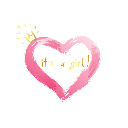 Baby girl birth announcement, baby card design with a pink heart and gold crown and message. It's a girl design for baby shower, t-shirts.