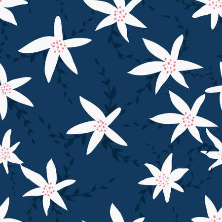 Seamless cute floral pattern on the dark blue background. Foto de archivo - 101209972