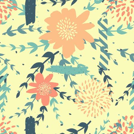 Seamles cute floral pattern on the dark bright background Foto de archivo - 102166676