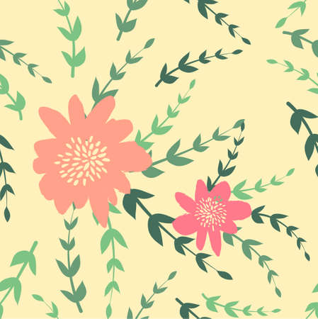 Seamless cute floral pattern on the bright background Foto de archivo - 101517940