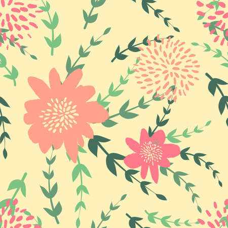 Seamless cute floral pattern on the bright background Foto de archivo - 101517944