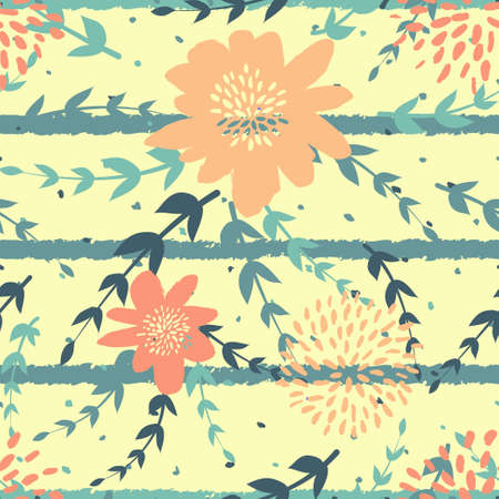 Seamles cute floral pattern on the dark bright background Foto de archivo - 101210238