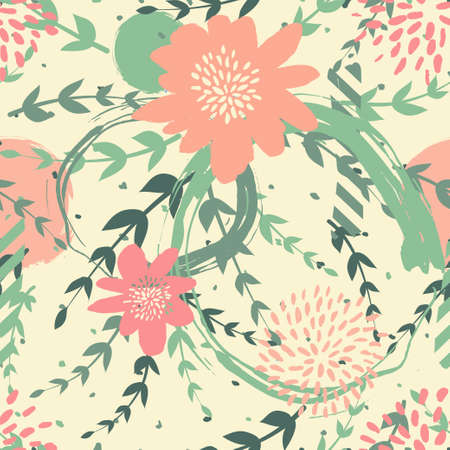 Seamles cute floral pattern on the dark bright background Foto de archivo - 101289801
