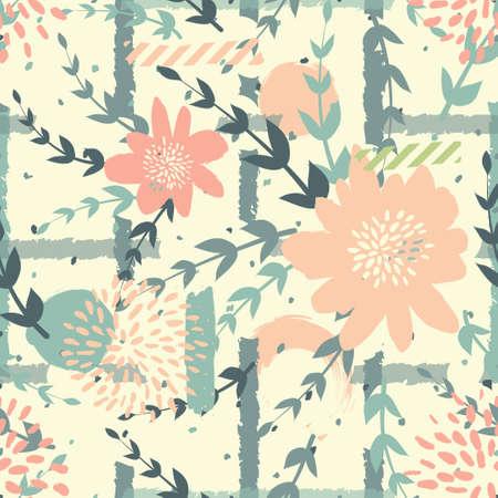 Seamles cute floral pattern on the dark bright background Foto de archivo - 101289800