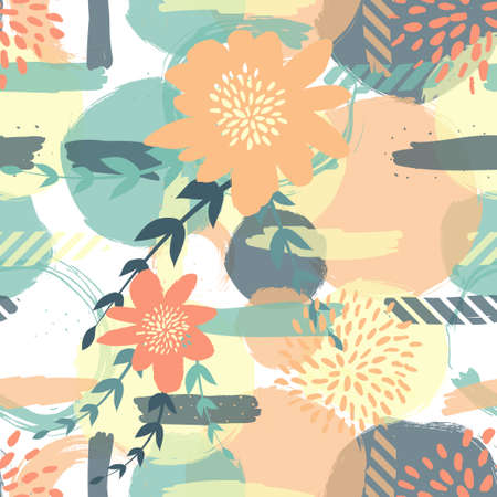 Seamless cute floral pattern on the bright background Foto de archivo - 101517950