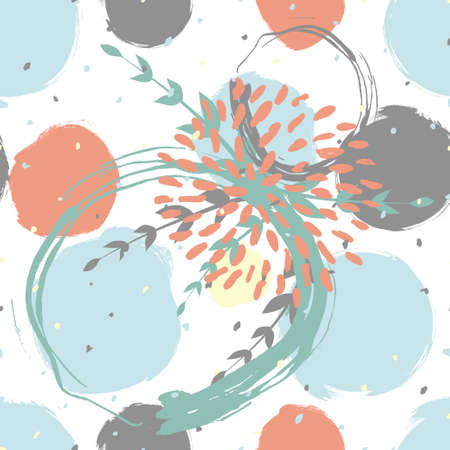 Seamless cute floral pattern on the dark bright background Illustration