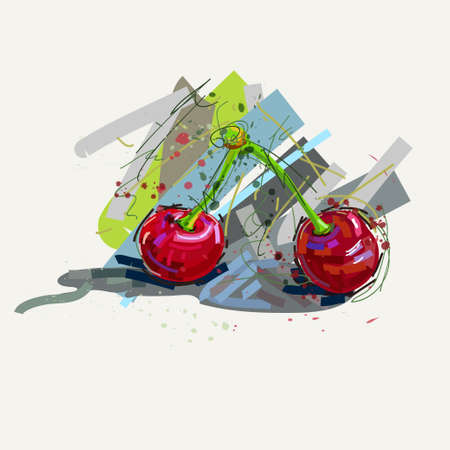 colorful illustration with abstract cherry on white background Illustration