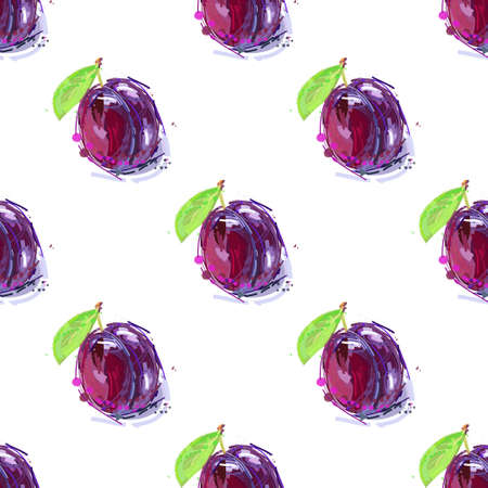 Plum fruit drawing seamless background Ilustrace