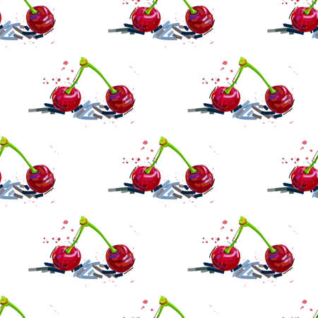 Cherry seamless pattern. Good for textile, wrapping, wallpapers, etc. Vector illustration. 矢量图像