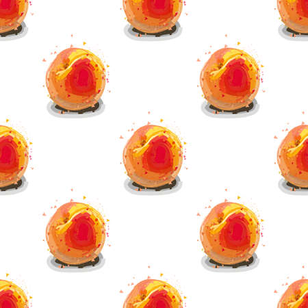 Peaches seamless pattern. Vector illustration