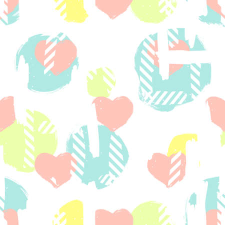Seamless pattern with hearts and abstract figures.