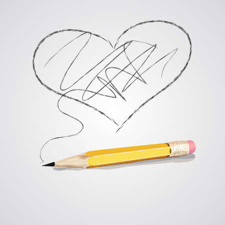 Vector illustration of sharpened detailed wooden pencil and drawing heart