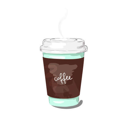 Coffee cup vector illustration isolated on background. Plastic coffee cup with hot coffee in artistic style. 向量圖像