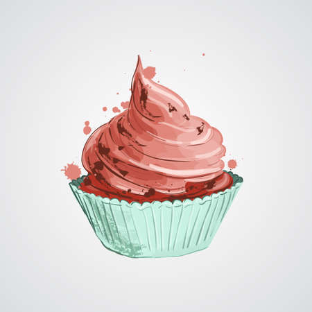 Cupcake with pink creme. freehand drawing. artistic style 向量圖像