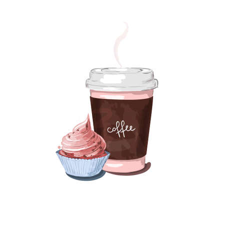 illustration of isolated a cup of coffee and cute cup cake. Cup of coffee and desert
