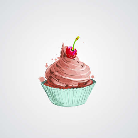 Cherry cupcake. Vector illustration. Cupcake with pink cream 向量圖像