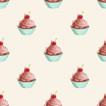 Seamless pattern with sweets. Puncake
