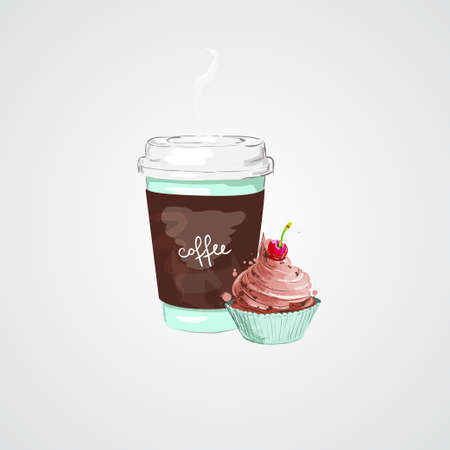 Cup of coffee and puncake. Vector illustration