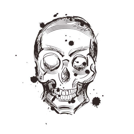 Skull sketch tattoo design. Hand drawn vector illustration. Abstract skull 向量圖像