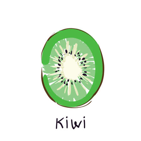 Kiwi fruit. Chinese gooseberry half cross section flat color vector icon for food apps and websites Illustration