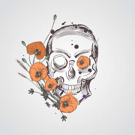 Skull with flowers. Vector hand drawn skull with wild flowers. Skull with poppie flowers isolated on white background.