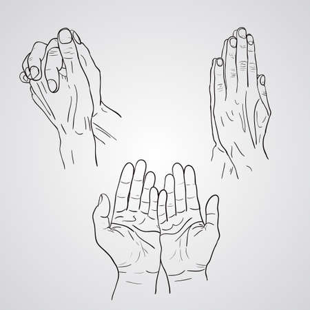 Praying Hands drawing vector illustration sketch