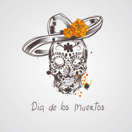 Skull. Dia de los Muertos, Day of the Dead card. Skull wearing sombrero and marigold flower
