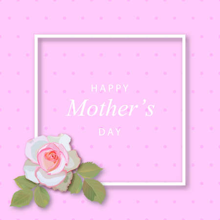 Mothers day greeting card with flowers background and frame  イラスト・ベクター素材