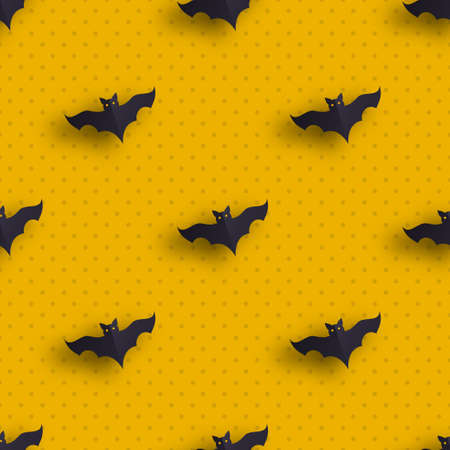 Hallowen pattern of flying bats. Vector seamless background. Ready for printing on textile and other seamless design. Stock Photo