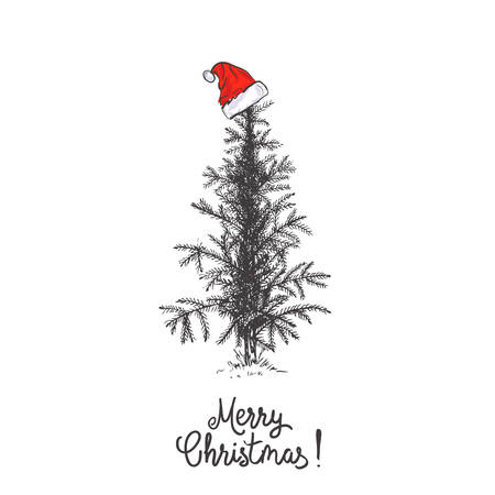 Card design with a hand drawn Christmas tree with snowflakes and Merry Christmas text. Santas hat