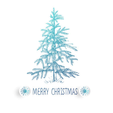 Card design with a hand drawn Christmas tree with snowflakes and Merry Christmas text.