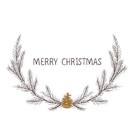 Vector image of a Christmas wreath, a wreath of fir. Merry Christmas inscription in the center. Christmas mood. Universal use.