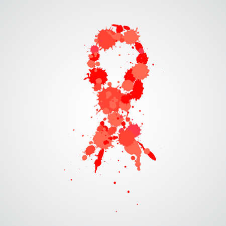 Aids Awareness Ribbon. Watercolor red ribbon immitation, aids awareness symbol, isolated on white. Vector illustration