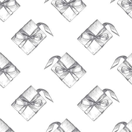 Seamless texture with hand drawn gift boxes with bows and ribbons. Sketch illustration on white background. Christmas background