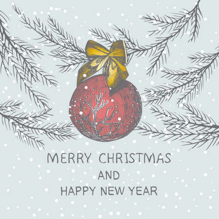 Christmas hand drawn fir tree for Christmas design. With ball and bow. Holiday invitation design.