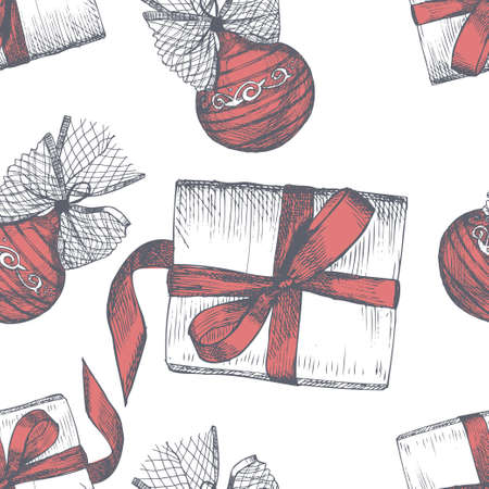 Seamless pattern with sketch hand drawn Christmas balls