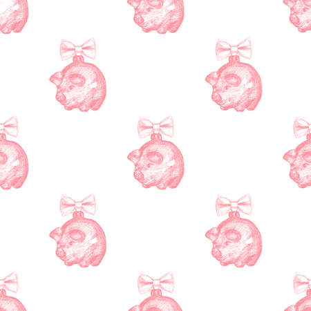 Pig sketch. Seamless pattern with sketch Christmas balls pig