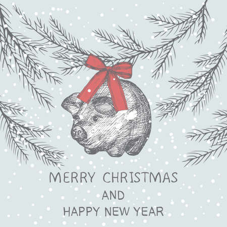 Merry Cristmas hand drawn card. New year pig with a bow, Chritmas tree and snow. Sketch